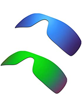 Hkuco Plus Mens Replacement Lenses For Oakley Batwolf Blue/Green Sunglasses