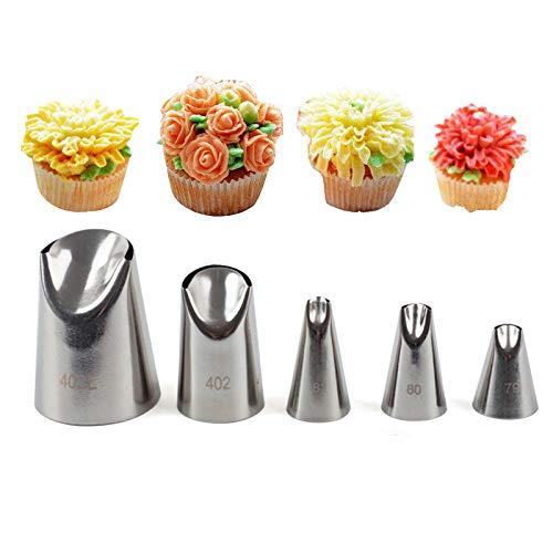 Kbstore 5 pezzi beccucci in acciaio per sac a poche - bocchette fiori pasticceria set per decorazione torte, cupcakes, biscotti, pasticcini #5