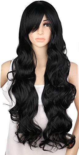 Hoverxe Cosplay-Perücke, langes Haar, hitzebeständig, spiralförmig, gewellt, für Cosplay, Party, Schwarz