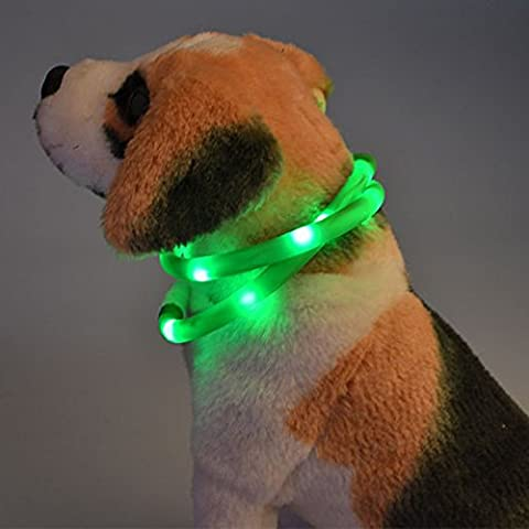 Itian LED collier de chien, Led USB rechargeable Collar Pet sécurité visibles à 500 mètres étanche Light up Longueur Flashing réglable Collar(Vert)