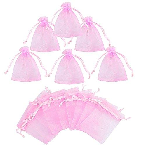 Gudotra 100 pezzi sacchetti rosa bustina organza portaconfetti per nozze regalo caramella partito gioielli(7cm*9cm)