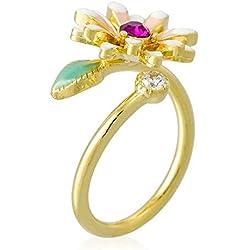 mes-bijoux. fr Anillo Ajustable Margarita de Primavera Dorado