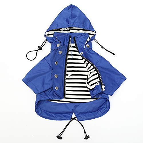Zippered Drawstring Dog Raincoat with Removable Hood - Size XS to XXL