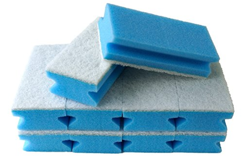 Sonty 10 Stück Schwamm Jumbo, Reinigungsschwamm, Premium, mit Griffleiste, kratzfrei, Vlies ohne Schleifmittel, 15 x 7 x 4 cm blau/weiß