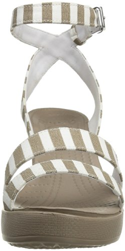 Crocs Leigh Graphic, Sandales compensées femme Beige (Mushroom/White)