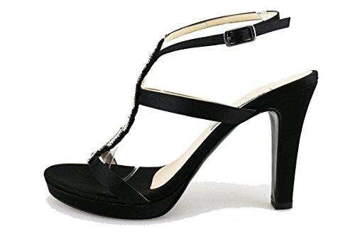 ALBANO sandali donna nero seta swarovski AG194 (40 EU)