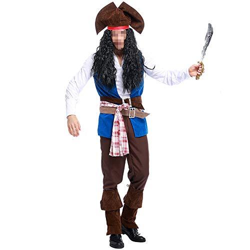 kMOoz Halloween Kostüm,Outfit Für Halloween Fasching Karneval Halloween Cosplay Horror Kostüm,Herren Piratenkapitän Kostüme Halloween Herren Gaming Kostüme