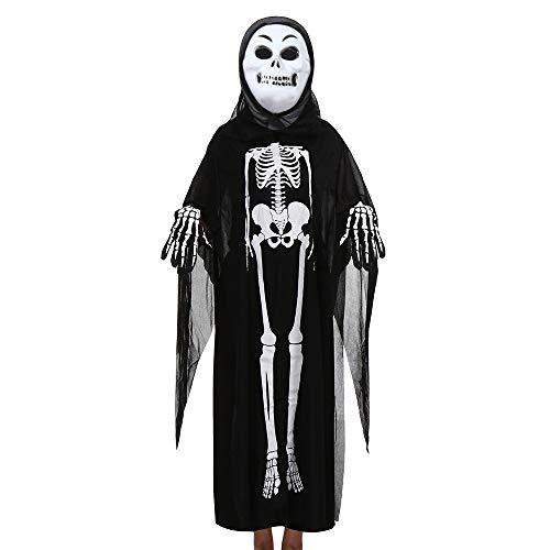 AZZRA Maske Männer und Frauen, Skelett Ghost Kleidung Mantel + Horror-Maske + Handschuhe DREI Stück Halloween Cosplay Set Eltern-Kind-Kostüme Grimasse Fest Karneval Christmas Party - Intergalaktische Kostüm