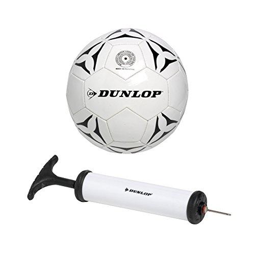 Dunlop Pallone Da Calcio 5° MISURA ( quinta ) Regolamentare Palla In Cuoio con Gonfiatore a pompa
