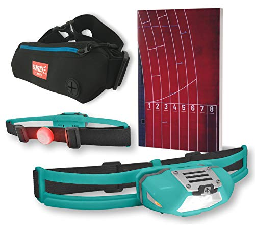 NiteView Stirnlampe zum Laufen mit Rücklicht, inkl. Neopren-Lauftasche und Lauftagebuch