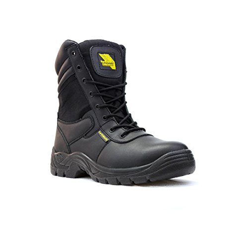 Earth Works Safety - Zapato de seguridad, acordonado, negro y azul, para hombre EarthWorks - Talla 4 UK / 37 EU - Negro
