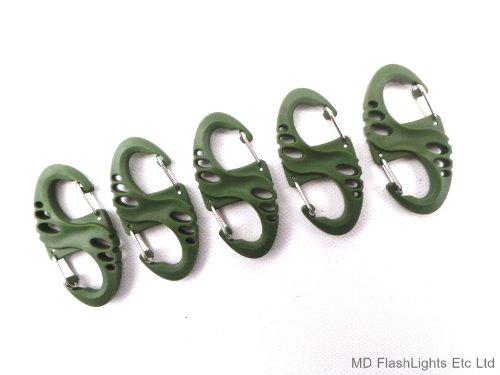 MD FlashLights Etc Ltd 5x Grün S Biner Karabiner Clips ideal für Laden Kutsche, Schlüsselanhänger, Bushcraft, Survival -