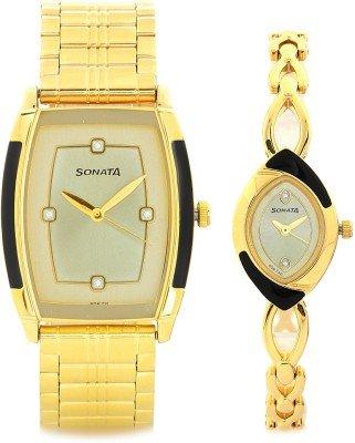 Sonata Analog Gold Dial Unisex Watch-NK70808069YM02