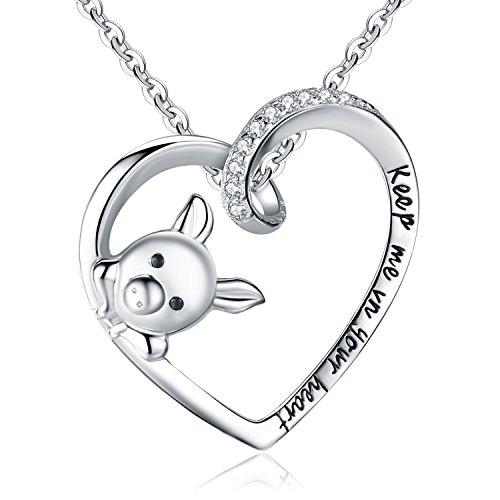 """Clearine Halskette Damen 925 Sterling Silber Cubic Zirconia Gravur""""Keep Me in Your Herz"""" Cute Schwein Anhänger Hals-Schmuck Klar"""