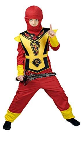 Karneval-Klamotten Ninja Kostüm für Jungen rot gelb Krieger Samurai Assassin Kostüm Kinder Größe 140/152