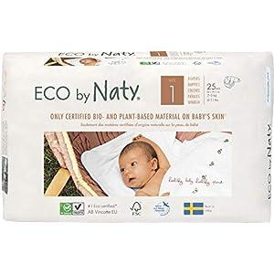 NATY by Nature Babycare 8178358 Eco by Naty Premium Bio-Windeln für empfindliche Haut, 4 Packungen à 25 Stück, weiß
