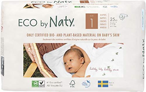 Eco by Naty, Größe 1, 100 Windeln, 2-5 kg, MONATSVORRAT, pflanzliche Premium-Bio‑Windeln mit 0% Plastik auf der Haut, 4er pack (4 x 25 Stück)