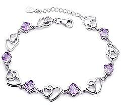 Idea Regalo - findout swarovski ametista, rosso, rosa blu bianco di cristallo del cuore braccialetto d'argento, per le donne le ragazze