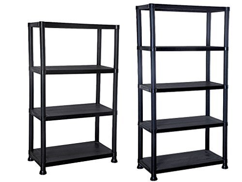 4/5 Tier Black Plastic Shelving Unit Storage Organised Garage/Home/Pantry Racking Shelf Shelves Workbench Workman Bays Racking Tools Paint Stationary Parts (5 Tier) by E-Bargains -