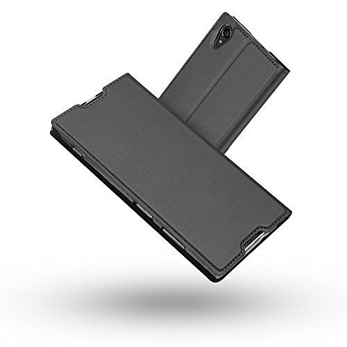 Radoo Sony Xperia XA1 Plus Hülle, Premium PU Leder Handyhülle Brieftasche-Stil Magnetisch Folio Flip Klapphülle Etui Brieftasche Hülle Schutzhülle Case Cover für Sony Xperia XA1 Plus (Schwarz grau)