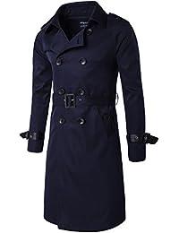 JIINN Jacket Homme Manteau à Double Boutonnage Longue Uni Slim Trench Coat  Veste Classique Militaire Ceinture b1825c2a6f58