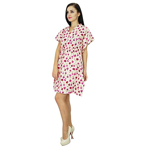 Bimba Women Wear Cotton Kaftan Kleid-Kurzschluss-Strand-Vertuschung-Tunika Printed Kaftan Lila