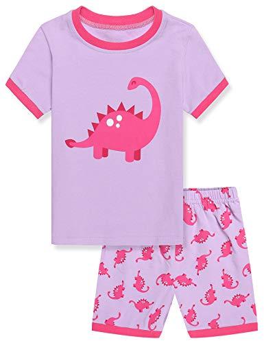 Untlet Mädchen Zweiteiliger Schlafanzug Baumwolle Kinder Kurze Ärmel Pyjama 100 110 120 (PAT2, 130)