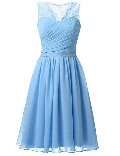 Aurora dresses Damen Abendkleider Elegant Kurz Partykleider Chiffon Ballkleid Abschlussballkleider(blau,38) (Aurora Blau Kleid)