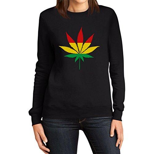 Cannabis Bob Marley Hanfblatt Rot Gelb Grün - Jamaika Reggae Schwarz Große Tank Top Damen Schwarz Medium Sweatshirt (Hanf Baumwolle Pullover)