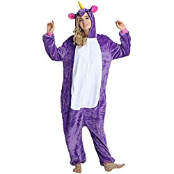 Rainbow Fox Unicornio pijama adultos Cosplay disfraz Animal Ropa de dormir Franela Novedad Víspera de Todos los Santos Navidad ropa (XL, púrpura)