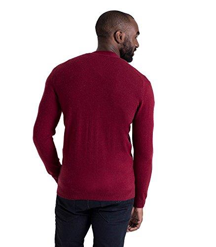 WoolOvers Strickjacke mit V-Ausschnitt aus Merinowolle-Kaschmirwolle für Herren Burgundy