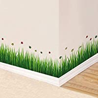 Kids Wall Stickers Fresh Living Room Green Leaves Corner Decoration Baseboard Wall Sticker Bedroom Baseboard Self-Adhesive
