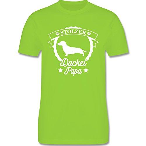 Shirtracer Hunde - Stolzer Dackel Papa - Herren T-Shirt Rundhals Hellgrün