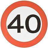 Folat Traffic Schild Geburtstag Party Place matt und Untersetzer–zum 40. G