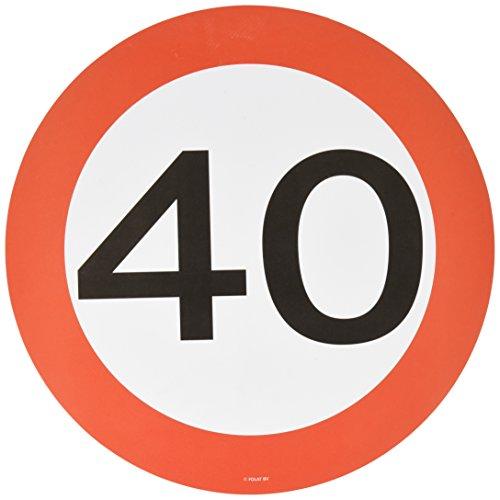 Traffic Schild Geburtstag Party Place matt und Untersetzer–zum 40. Geburtstag