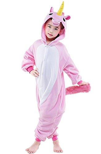 Kenmont Jumpsuit Tier Cartoon Einhorn Pyjama Overall Kostüm Sleepsuit Halloween Cosplay Animal Sleepwear für Kinder Baby (Größe85: Höhe 85-100, Rosa)