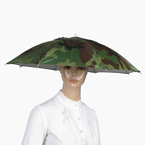 Hilai Search & reg; Beach Golf Angeln Armee-Grün Hand Freie Kopfbedeckung Regenschirm-Hut 58cm Durchmesser