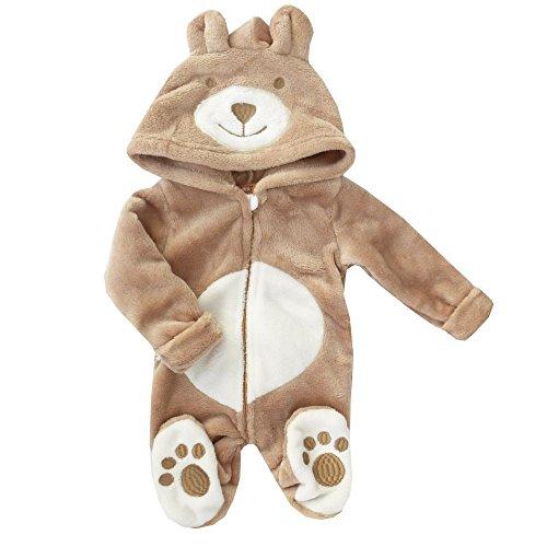 Motiv: Bär | Marke: Cheeky Chimp | Tierstrampler mit Kapuze für Neugeborene & Kleinkinder | Größe: 6-9 Monate (68/74) (Baby Bären Anzug)