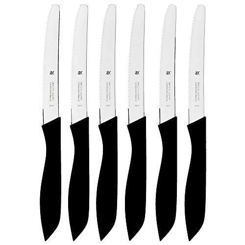 WMF CLASSIC LINE Brotzeitmesser Set, 6-teilig, Vespermesser mit Doppelwellenschliff, Spezialklingenstahl, Kunststoffgriff, L 11 cm