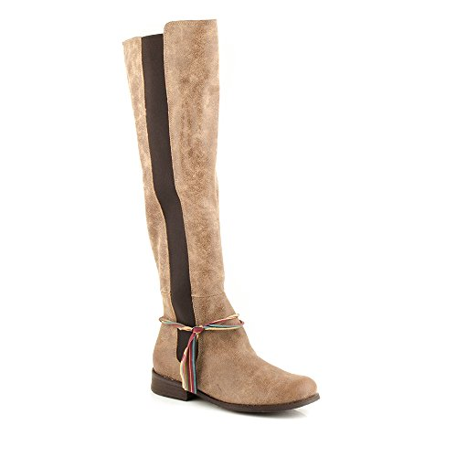 Felmini - Chaussures Femme - Tomber en amour avec Beja 1065 - Hohe Bottes Classiques - Cuir Véritable - Marron Marron