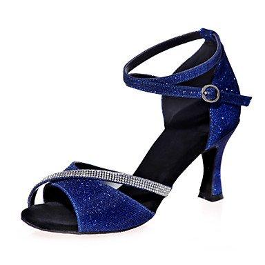 XIAMUO Nicht anpassbar - Die Frauen tanzen Schuhe funkelnden Glitter funkelnden Glitter Latein Sandalen entzündete Ferse Praxis/Innen-/PerformanceBlack/ Braun