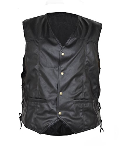Walking Dead Angelo Piume Nero in finta pelle Gilet Black misura (Angelo Leather Jacket)