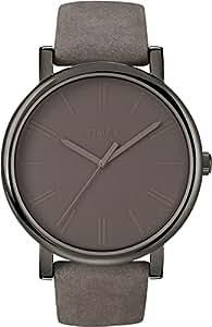 Timex Damen-Armbanduhr Grau Analog Leder T2N795D7