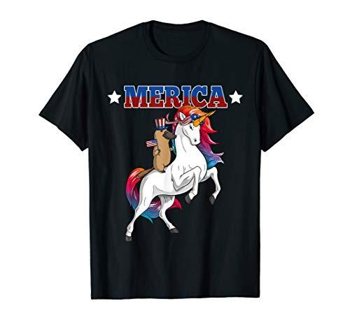 Merica Schnabeltier Einhorn USA American Flag 4th of July T-Shirt -