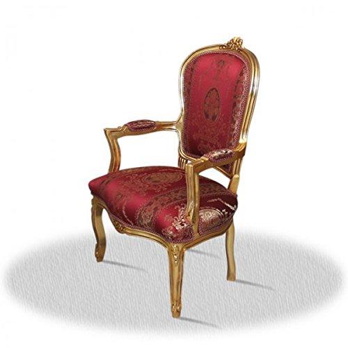 LouisXV Barock Stuhl Vintage Antik Stil rot Rokoko Blatt gold rot antik Stil Massivholz. Replizierte...