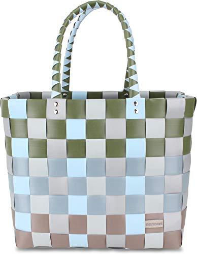 normani Einkaufstasche geflochten mit Henkeln - Tragetasche extra robust Farbe Classic/Laka