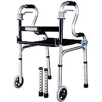 TWGDH Bastidor De Aluminio Ligero con Asiento, Altura Ajustable, Asistencia Sanitaria, Caminador Plegable