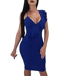 f7112f0ef9e4 Vestiti Donna Elegante Estivi A Pieghe Smanicato V Profondo Clubwear Slinky  Dell Anca Pacchetto Abbigliamento