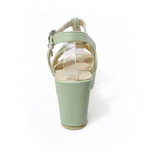 AgooLar Femme Matière Souple Boucle Ouverture D'Orteil à Talon Haut Couleur Unie Sandales Vert