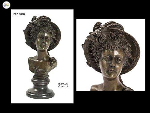 Scultura Artistica Bronzo BUSTO DAMA L'ESTATE H.cm.26 Bronzi Arte